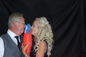 Bride and groom with a parrot - Horsham photo booth hire