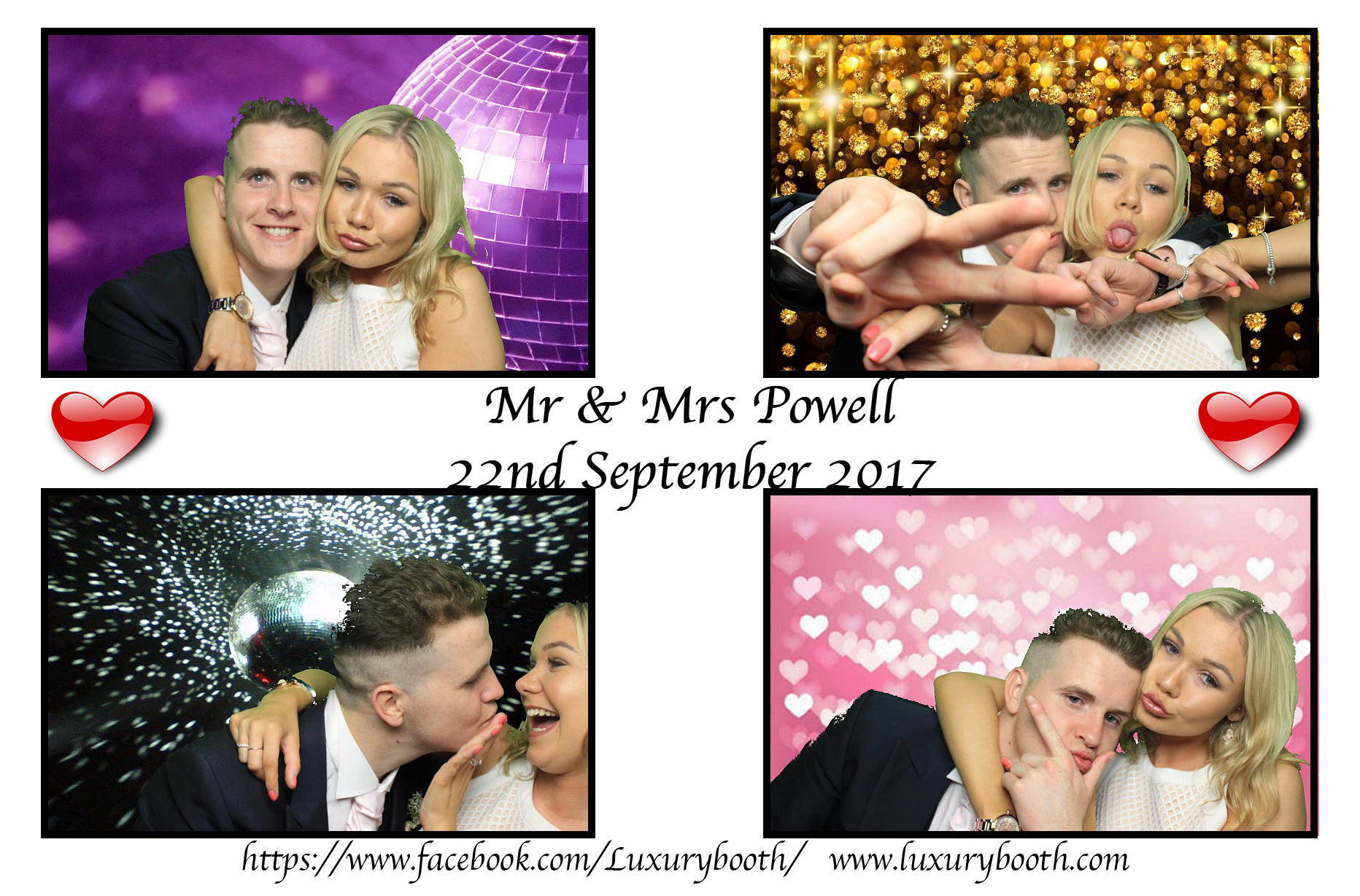A happy couple in our traditiona photo booth with green screen backgrounds