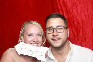 Bride and groom in our photo booth