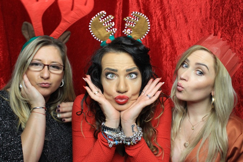 3 Guests in our photo booth for a Christmas party