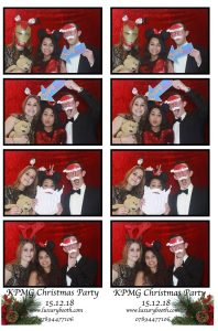 3 guests in our photo booth on a Christmas designed layout