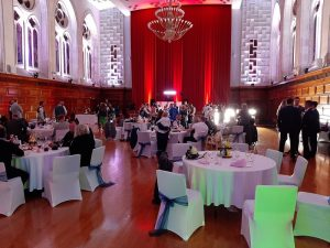 The Guildhall, Plymouth, set up and decorated for the wedding celebrations in Plymouth for Mr & Mrs Claffey