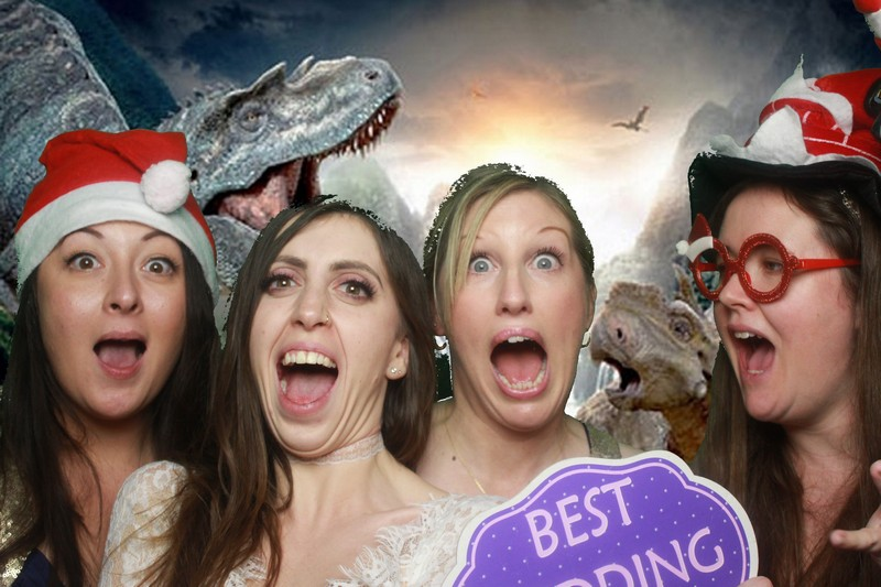 Four ladies - one dinosaur! All in the photo booth