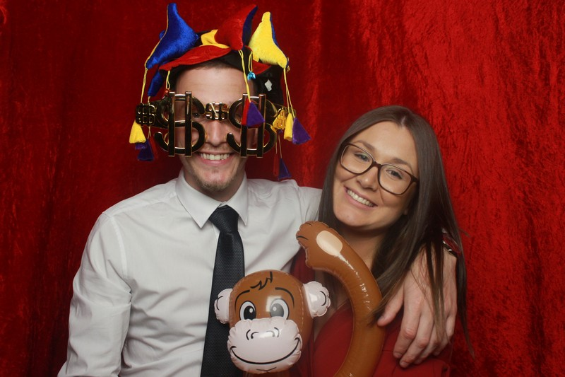 A lovely couple in our photo booth - with a monkey - during a dinner dance.